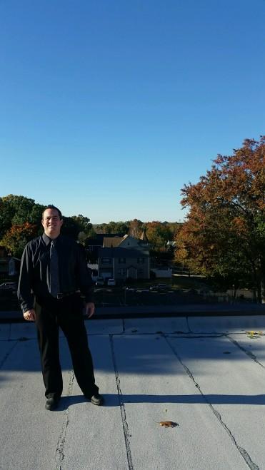 Principal Schweitzer on the roof